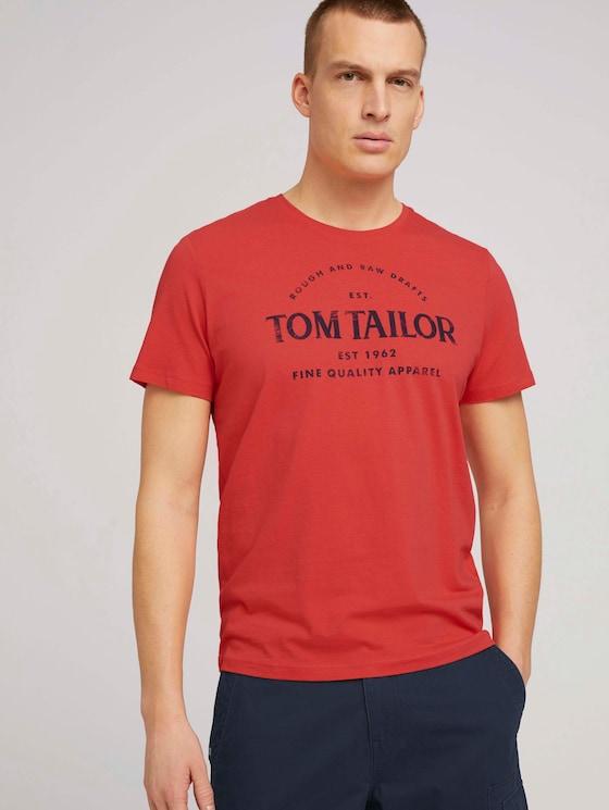 Logo Print T-Shirt - Männer - Plain Red - 5 - TOM TAILOR