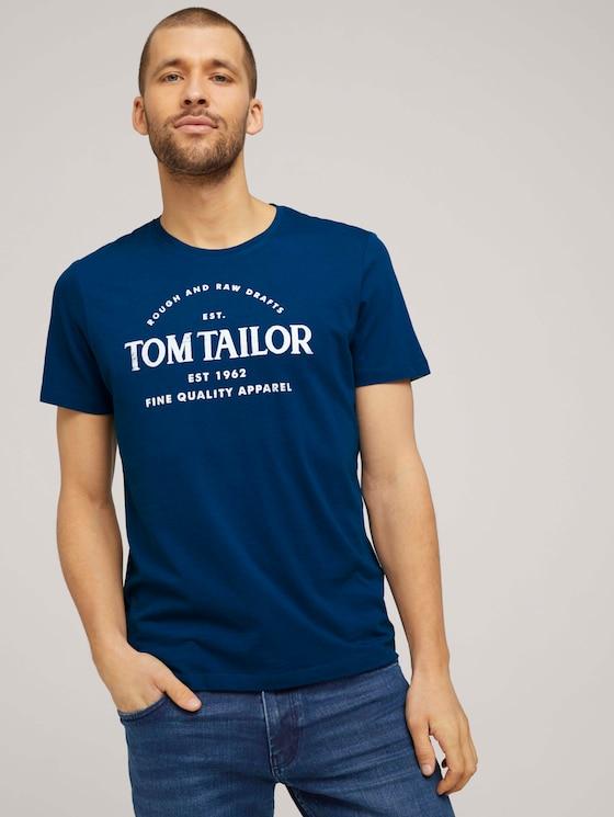 Logo Print T-Shirt - Männer - after dark blue - 5 - TOM TAILOR