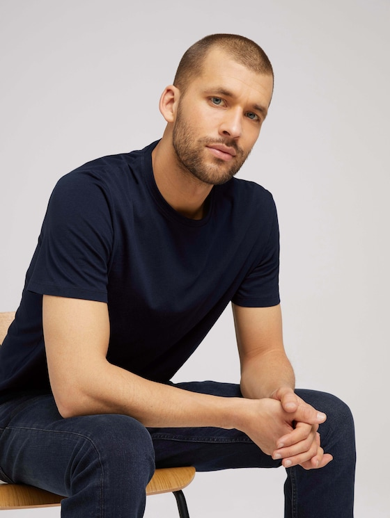 Basic T-Shirt - Männer - Dark Blue - 5 - TOM TAILOR