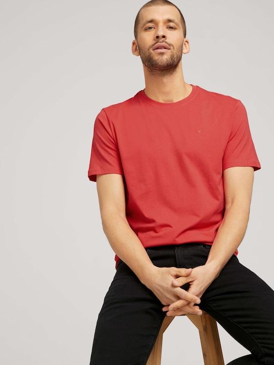 Basic T-Shirt - Männer - Plain Red - 5 - TOM TAILOR