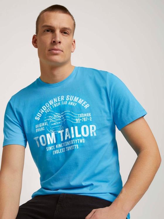 T-Shirt mit Print - Männer - aquarius turquoise - 5 - TOM TAILOR