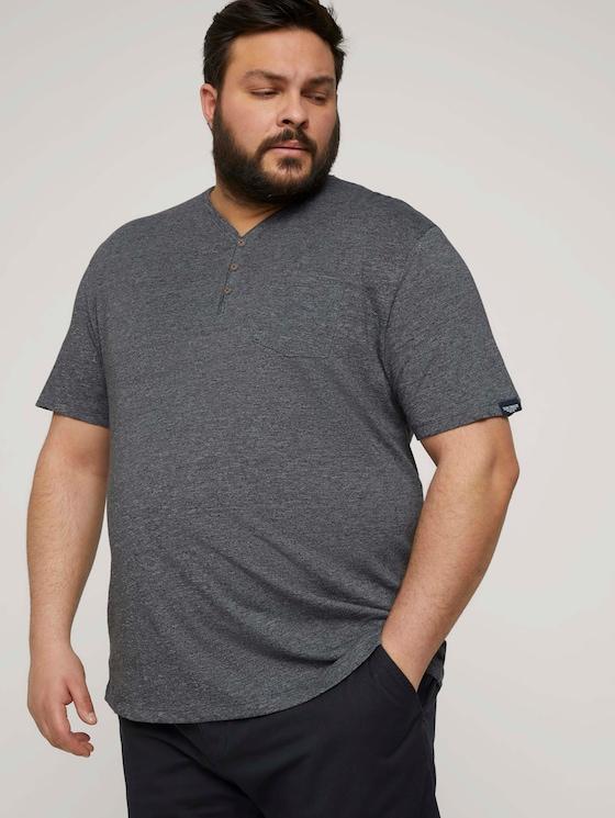 Henley T-Shirt in Melange Optik - Männer - dark grey grindle melange - 5 - Men Plus