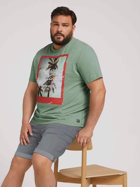 T-Shirt mit Fotoprint - Männer - mint green grindle melange - 5 - Men Plus