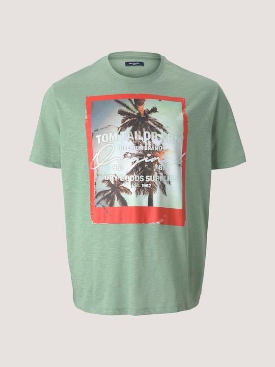 T-Shirt mit Fotoprint - Männer - mint green grindle melange - 7 - Men Plus