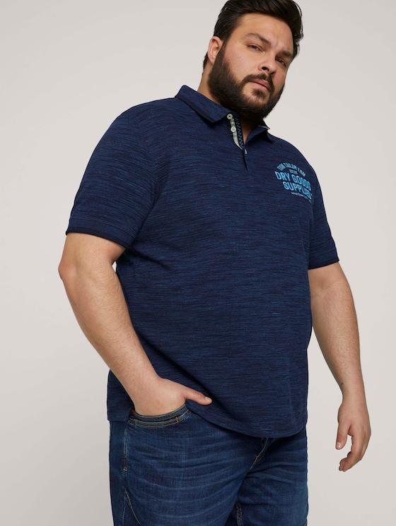 Meliertes Poloshirt mit Print - Männer - sailor blue streaky grindle - 5 - Men Plus