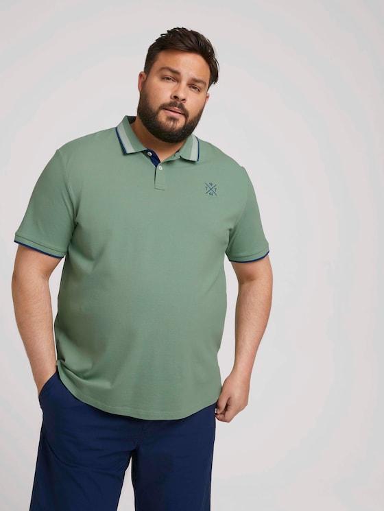 Poloshirt mit Schriftzug am Kragen - Männer - light mint green - 5 - Men Plus