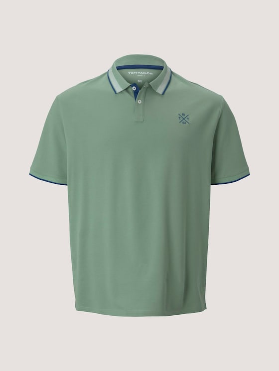 Poloshirt mit Schriftzug am Kragen - Männer - light mint green - 7 - Men Plus