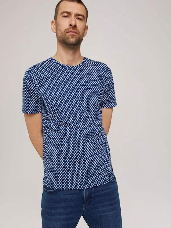 patterned t-shirt made of organic cotton - Men - dark blue small leaf design - 5 - TOM TAILOR
