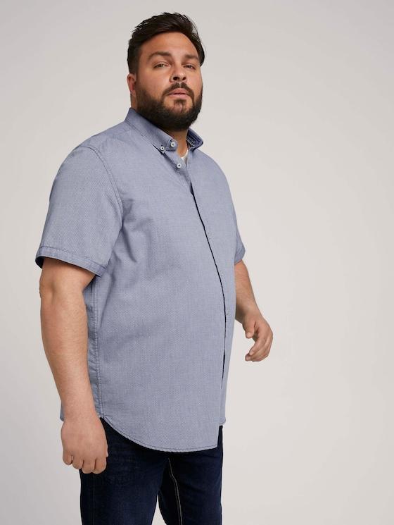 textured shirt - Men - navy white structure - 5 - Men Plus