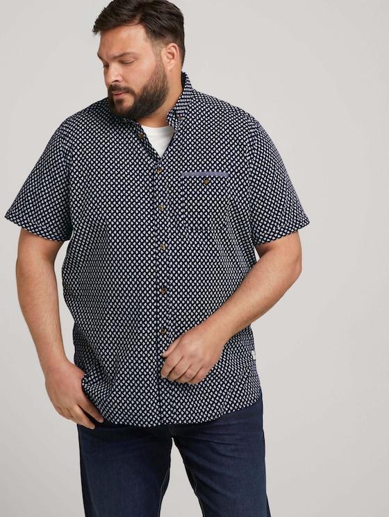 patterned shirt - Men - navy white small leaf design - 5 - Men Plus