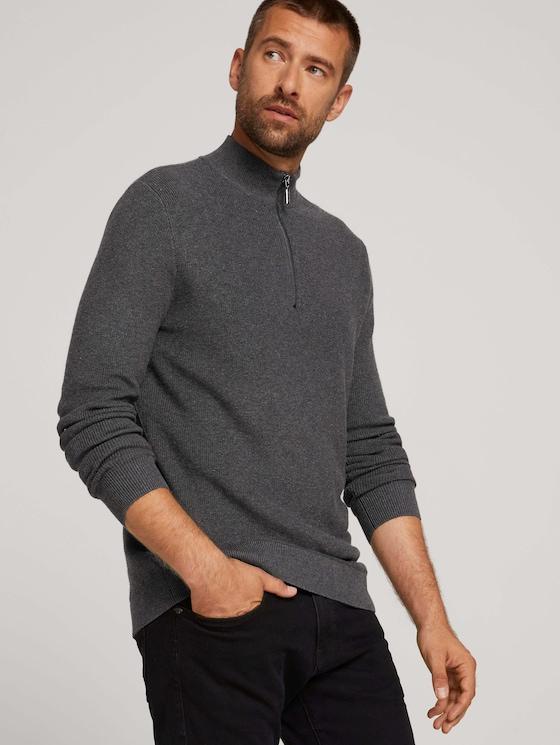 strukturierter Pullover - Männer - Black Grey Melange - 5 - TOM TAILOR