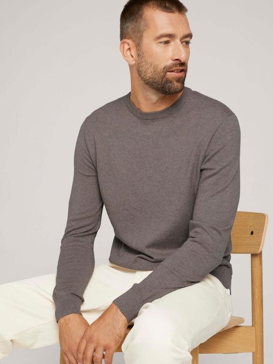 strukturierter Pullover - Männer - light wood taupe melange - 5 - TOM TAILOR