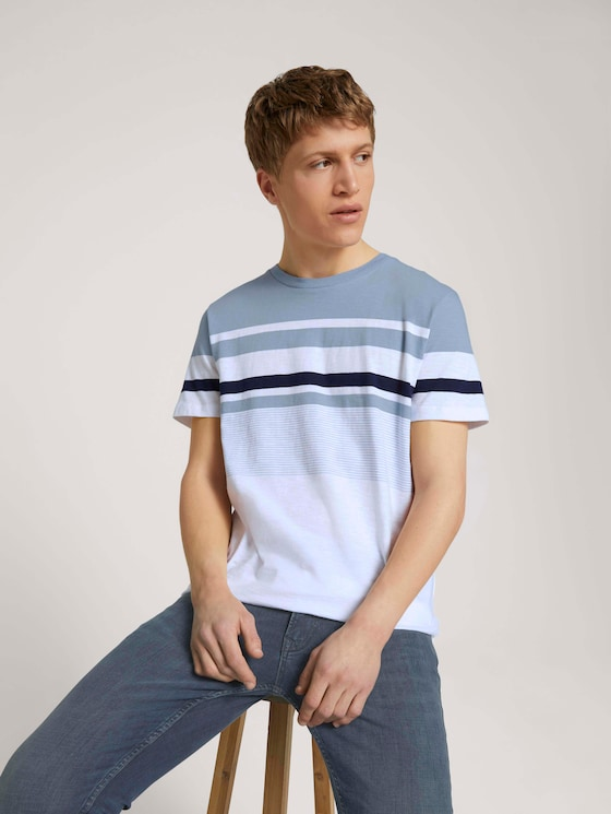 gestreiftes T-Shirt - Männer - Foggy Blue - 5 - TOM TAILOR Denim