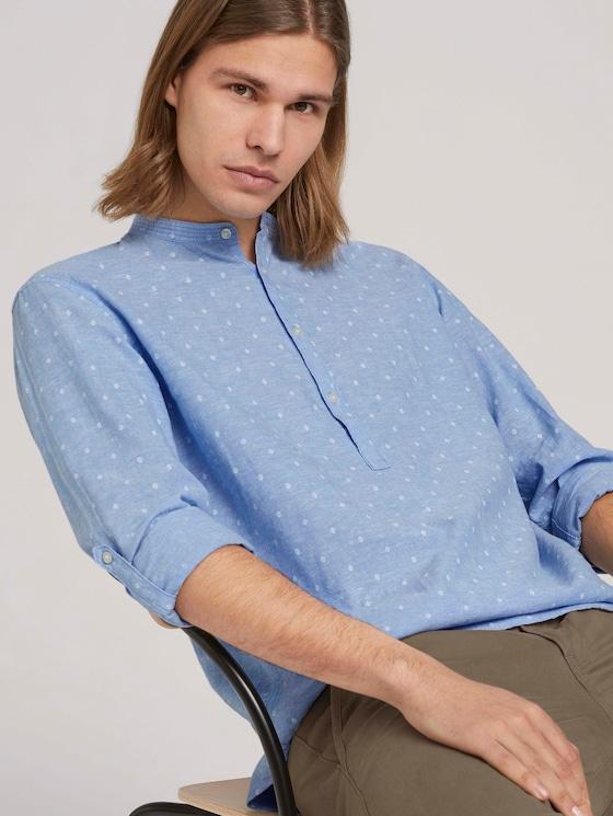 Leinenhemd mitrecycelten Fasern - Männer - blue white scattered design - 5 - TOM TAILOR Denim