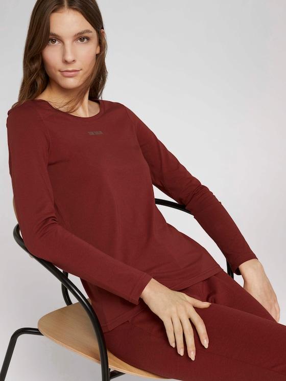 Logo print long-sleeved shirt with organic cotton - Women - dark maroon red - 5 - TOM TAILOR