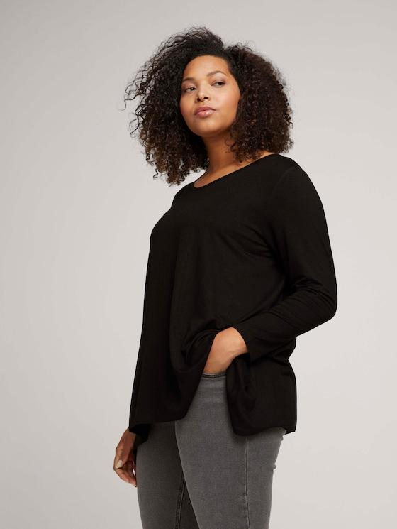 Curvy - long t-shirt with an asymmetric hemline - Women - deep black - 5 - My True Me
