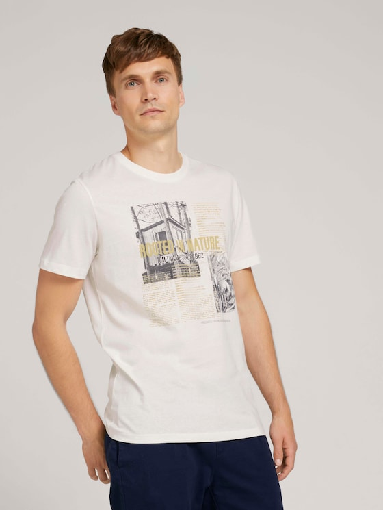 Photo print t-shirt with organic cotton - Men - Off White - 5 - TOM TAILOR