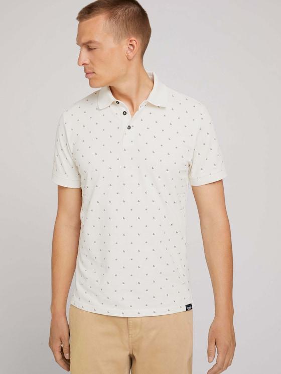 Patterned polo shirt - Men - off white scattered design - 5 - TOM TAILOR