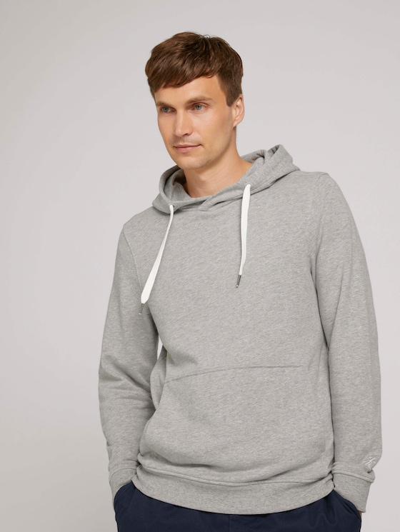 hoodie met kangoeroezak - Mannen - Middle Grey Melange - 5 - TOM TAILOR