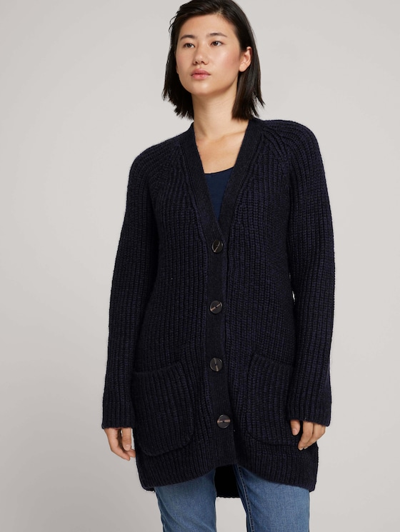 Long cardigan with pockets - Women - Sky Captain Blue - 5 - TOM TAILOR