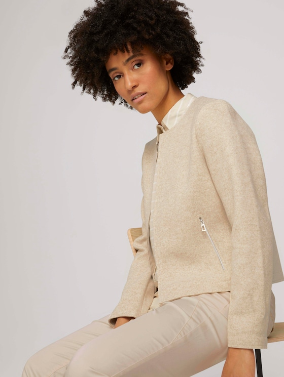 Blazer with zip pockets - Women - desert sand melange - 5 - TOM TAILOR