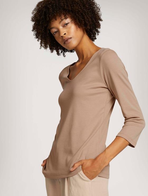 Basic-shirt 3/4 mouw met TENCEL™ Modal - Vrouwen - french clay beige - 5 - TOM TAILOR