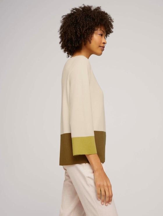 Sweater with colour blocking - Women - soft powder beige - 5 - Mine to five