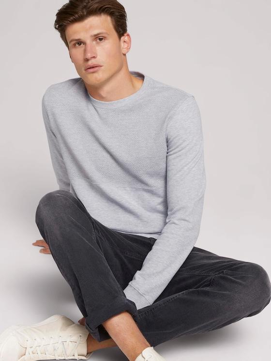 strukturiertes Sweatshirt - Männer - Light Stone Grey Melange - 5 - TOM TAILOR Denim