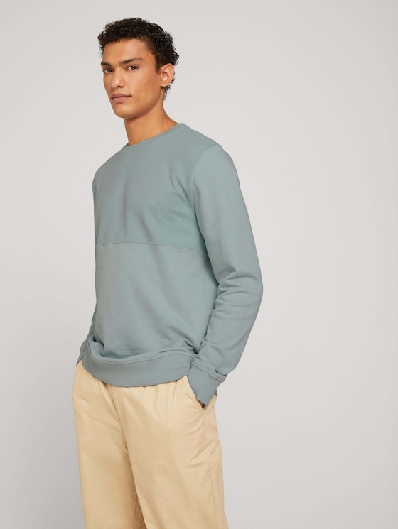 textured sweatshirt - Men - white moss - 5 - TOM TAILOR Denim