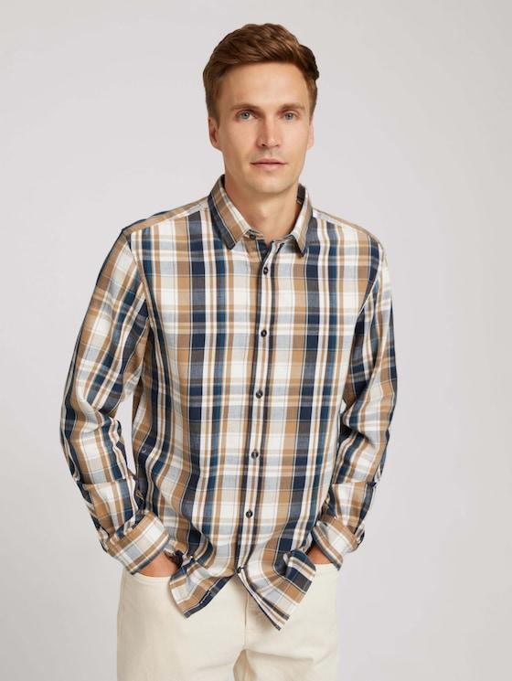 checkered shirt - Men - cognac navy check - 5 - TOM TAILOR