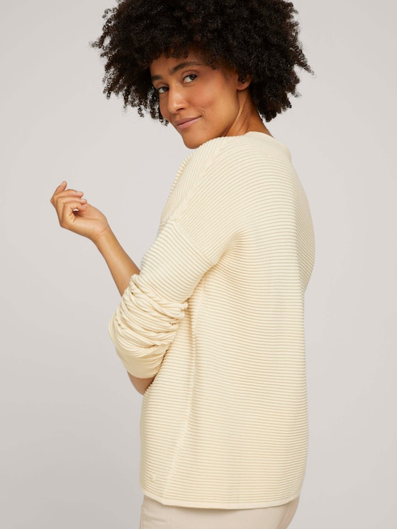 Ottoman sweater with a stand-up collar - Women - soft creme beige - 5 - TOM TAILOR