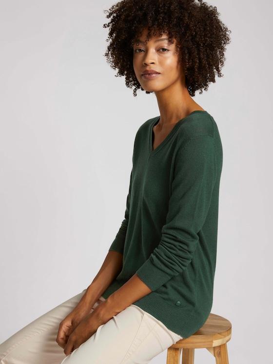 Basic sweater with a V-neckline - Women - dark pine green - 5 - TOM TAILOR
