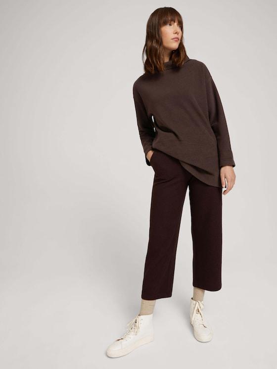 Cropped fabric trousers - Women - java dark brown melange - 3 - TOM TAILOR