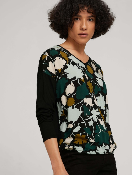 Patterned shirt in a mix of materials - Women - green large floral design - 5 - TOM TAILOR