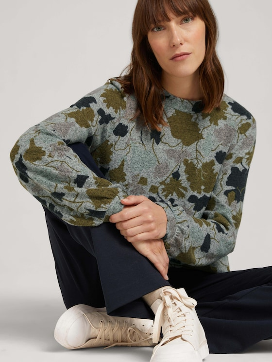Patterned shirt with balloon sleeves - Women - floral design cosy fabric - 5 - TOM TAILOR