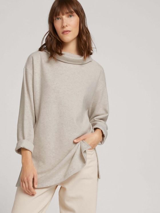 Sweatshirt with a stand-up collar - Women - cold beige melange - 5 - TOM TAILOR