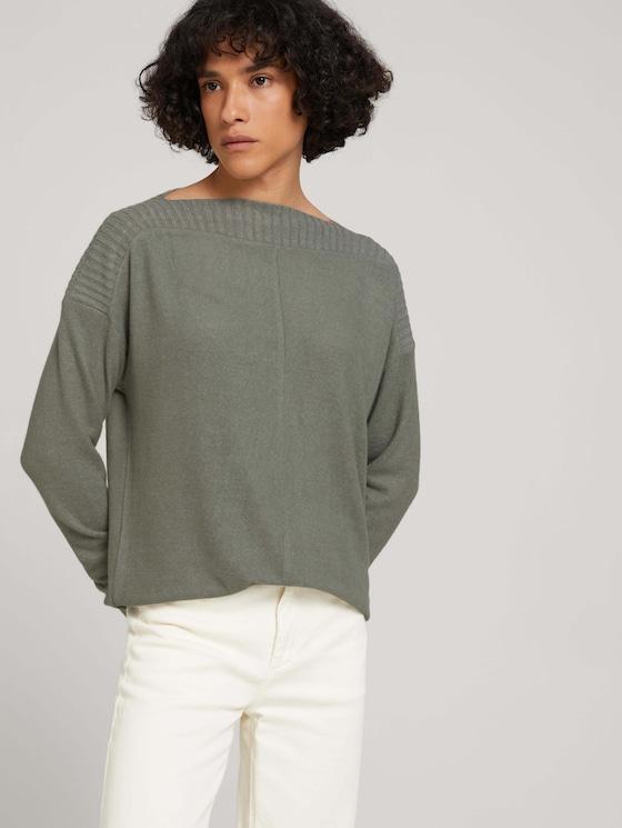 Melange shirt with ribbed cuffs - Women - dusty mid olive melange - 5 - TOM TAILOR