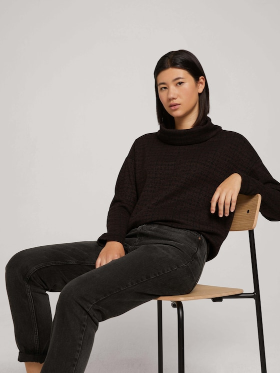 Patterned sweatshirt with a turtleneck - Women - black brown structure check - 5 - TOM TAILOR
