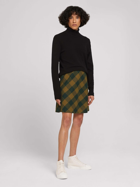 Soft check skirt - Women - green small check ck - 3 - TOM TAILOR