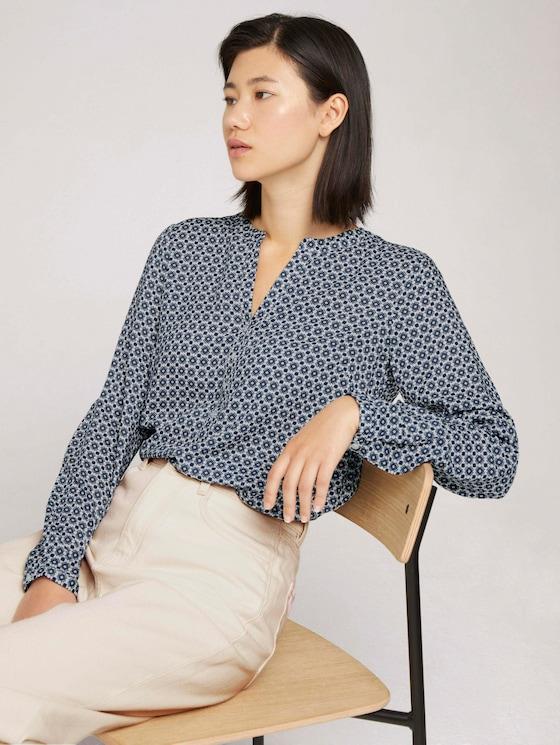 Patterned blouse with TENCEL ™ modal - Women - blue geometrical design - 5 - TOM TAILOR
