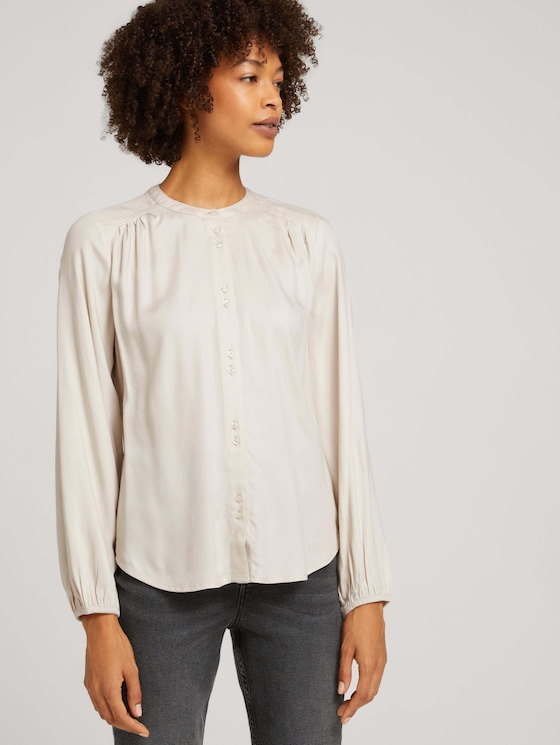 Blouse with a button tab - Women - cold beige - 5 - TOM TAILOR