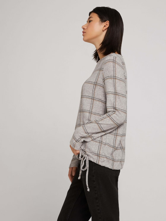 Patterned shirt with a drawstring - Women - grey melange check - 5 - TOM TAILOR