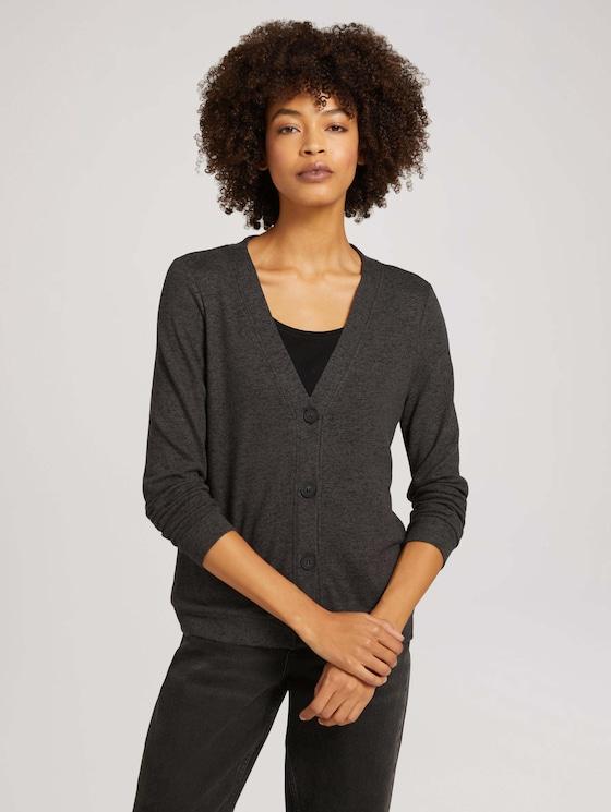 Fine cardigan with a V-neckline - Women - shady grey melange - 5 - TOM TAILOR