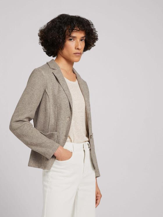 Slim-fit striped blazer - Women - oyster grey melange - 5 - TOM TAILOR