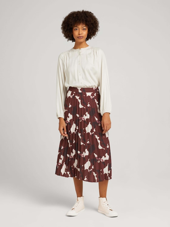 Midi pleated skirt with a pattern - Women - organic abstract print - 3 - Mine to five
