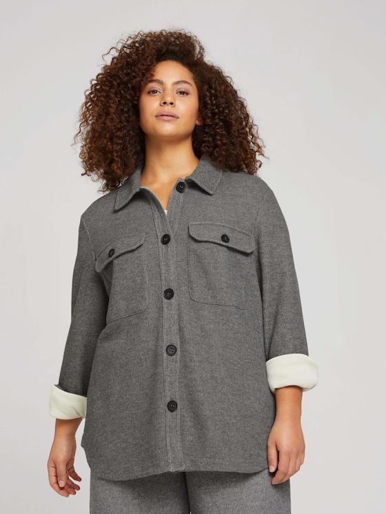 Curvy - textured shirt with a chest pocket - Women - asphalt grey melange - 5 - My True Me