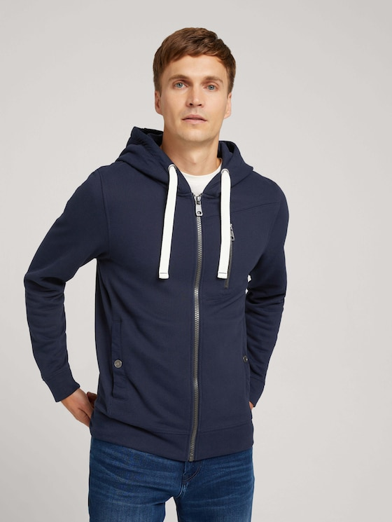 Sweatshirt jacket with a hood and drawstring - Men - Sky Captain Blue - 5 - TOM TAILOR