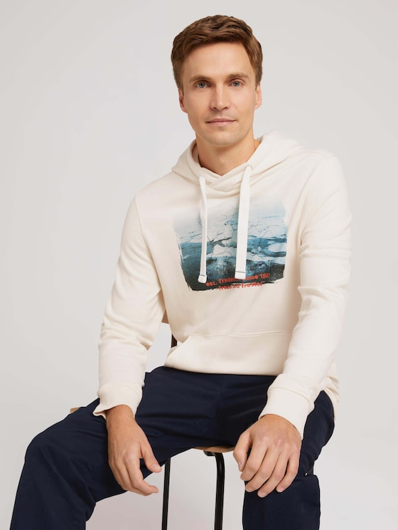 Hoodie with a photo print - Men - soft buttercream - 5 - TOM TAILOR