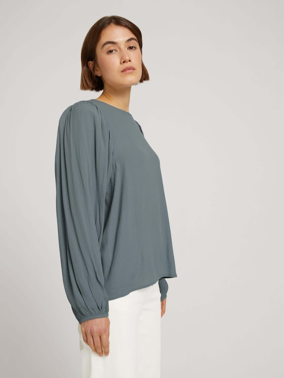 Blouse with balloon sleeves - Women - grey mint - 5 - TOM TAILOR Denim