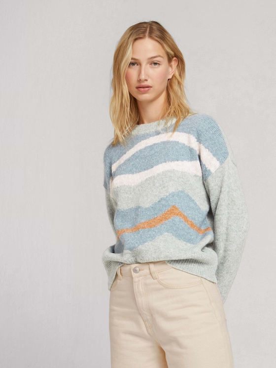 Oversized jumper with a pattern - Women - abstract mint artwork - 5 - TOM TAILOR Denim